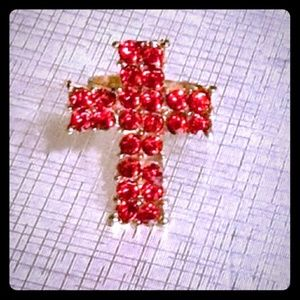 ✝️Red & Gold✝️Rhinestone✝️Cross✝️Ring✝️
